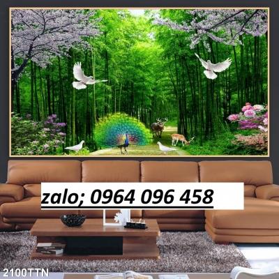 Gạch tranh 3d ốp tường phong cảnh rừng cây - 09PL