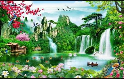 Tranh thiên nhiên giao hòa - tranh gạch