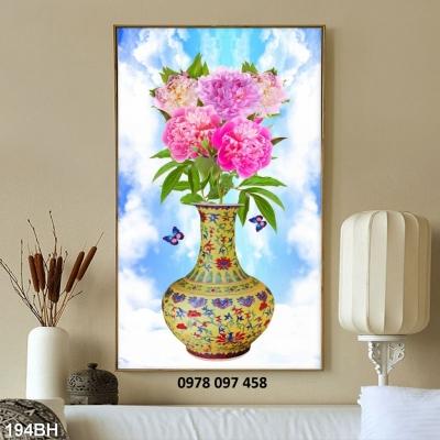 Tranh gạch men - tranh bình hoa sứ ngọc