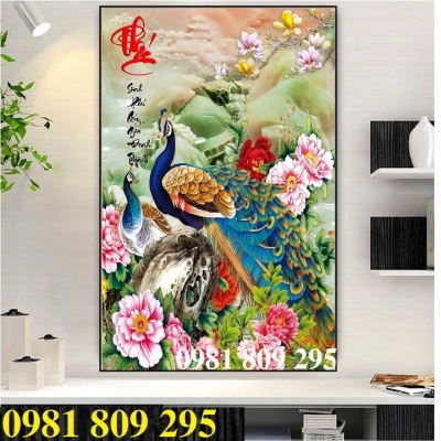 tranh 3d chim công khổ đứng - tranh gạch ốp tường