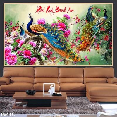 Gạch 3D chim công phong thuỷ- Tranh 3D