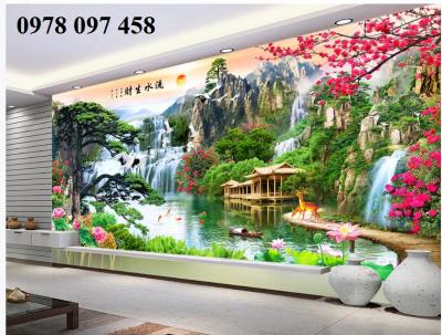 Gạch tranh phòng khách- tranh phong cảnh