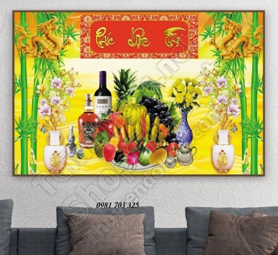 tranh gạch men, gạch tranh hoa quả ốp tường phòng thờ