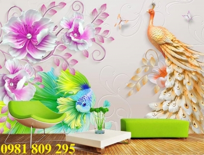 tranh gạch men - tranh gạch 3d chim công - tranh ốp tường