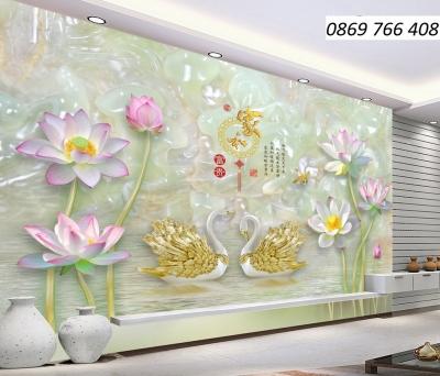 Tranh hoa sen 3D-tranh gạch ốp tường