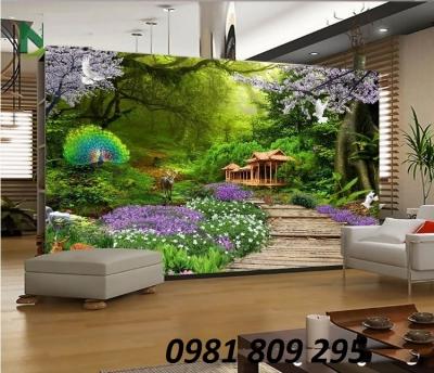 tranh gạch 3d hình cửa sổ vườn hoa