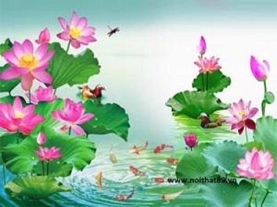 tranh hoa sen- tranh gạch 3d hoa sen