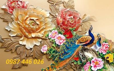 Tranh chim công 3d- gạch tranh chim công