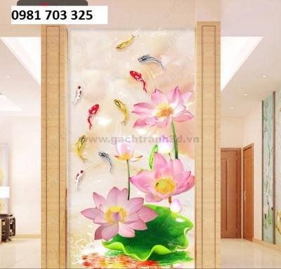 gạch tranh 3D trang trí phòng- tranh hoa sen