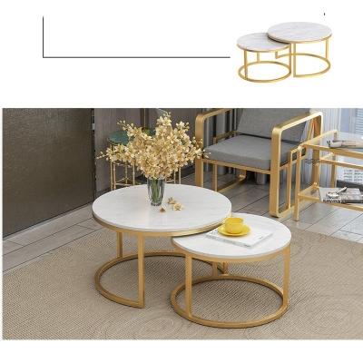 Bàn trà đôi Bonny chân sắt sơn nhũ vàng HX2A