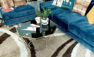 Bàn sofa kim cương mạ vàng HX1B