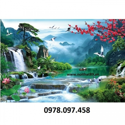 Tranh sơn thủy hữu tình trang trí phòng khách bằng gạch tranh cao cấp