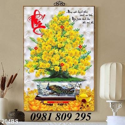 tranh gạch men - tranh cây mai vàng trang trí