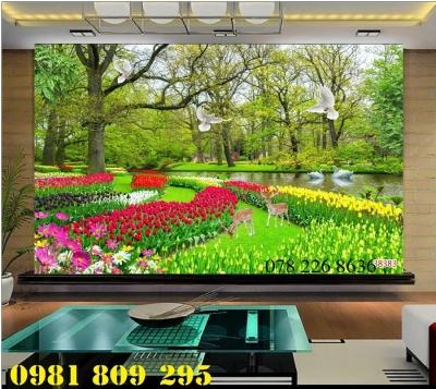 Tranh gạch men 3d vườn hoa tulip