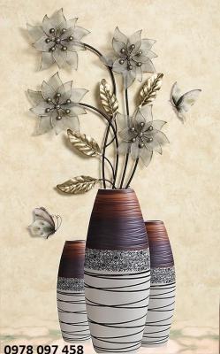 Tranh trang trí - tranh gạch bình hoa