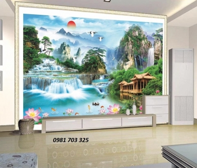 Tranh phong cảnh phòng khách-tranh gạch men đẹp