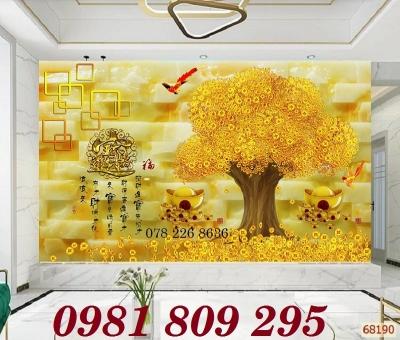 Tranh cây tiền vàng - tranh gạch men