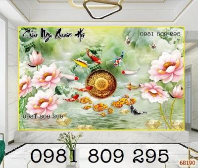 tranh gạch hoa sen - tranh gạch treo tường