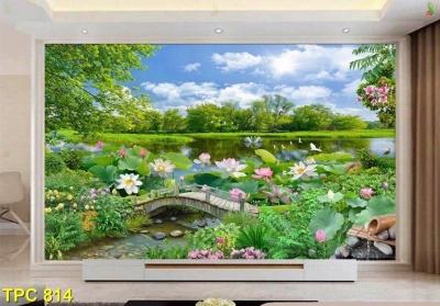 Gạch tranh 3d phong cảnh trang trí phòng khách